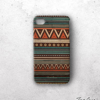 Tribal iphone 4 case - iPhone 4s case, handmade iphone case, print, hard case, gift wrapping - orange tribal pattern on wood (c8)
