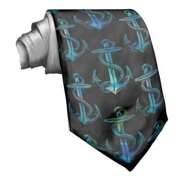 Anchor Blue Green Black Tie