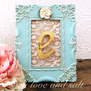Aqua and gold Bridal Shower Decorations Rustic Chic Wedding Decor Letter E