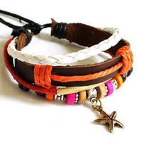 fashion Adjustable leather Cotton Rope Woven Bracelets mens bracelet cool bracelet jewelry bracelet bangle bracelet  cuff bracelet 835S