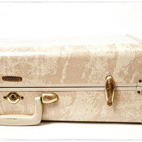 Vintage Mid Century Ivory and Tan Marble Samsonite Suitcase, Luggage, vestiesteam