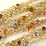 Fancy chain with swarovski crystal 4mm multi color 14k gold filled 1 foot