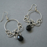 Onyx Gemstone Earrings by Wiredesignjewelry