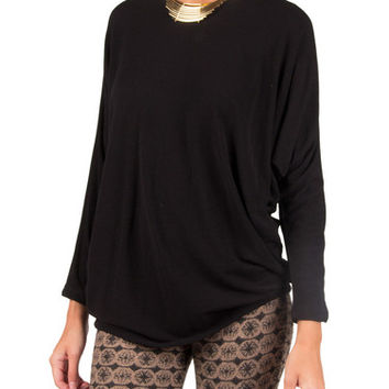 Super Soft 3/4 Sleeve Dolman Top - Black - Black /