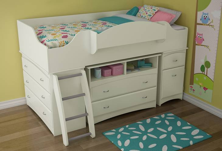 Giselle White Mid-High Loft Bed