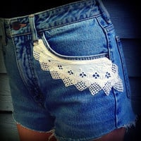 "Vintage High Waisted Edwin Cut Off Daisy Duke Shorts With Vintage Lace Applique 29"" Waist"
