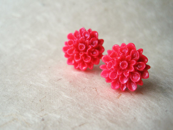 Pink Flower Earrings. Handmade Polymer Clay Stud Earrings. Summer Fashion. Hot Pink Dahlia Studs. Flamingo Pink. FSE1.
