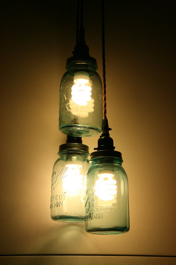 3 jar pendant light vintage blue mason from