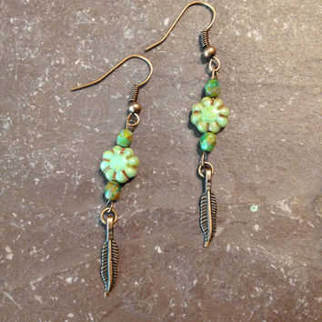 Green Feather Earrings, Copper, Handmade, Hippie, Bohemian, Jewelry