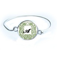 Initial Bracelet Silver Wire Wrapped Bangle Jewelry Green and White