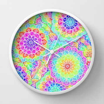 Psychedelic Summer Wall Clock by micklyn | Society6