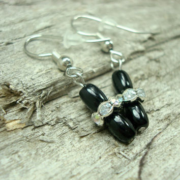 Modern Black Earrings, Hypoallergenic Jewelry, Rhinestone Earrings, Czech Glass Beaded Jewelry