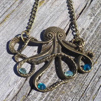 Antique Brass Octopus Necklace w Bling