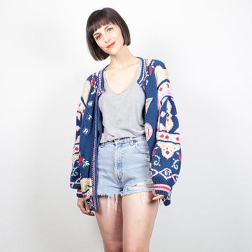 Vintage 80s Sweater Chunky Knit Cardigan Navy Blue Pink Yellow Floral Preppy Patches 1980s Jumper Cozy Oversized Knit L XL Extra Large