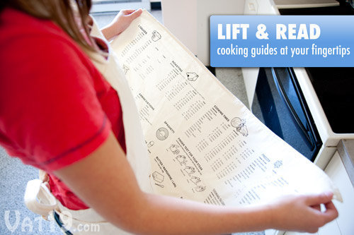 Cooking Guide Apron: Printed with everything you'll need