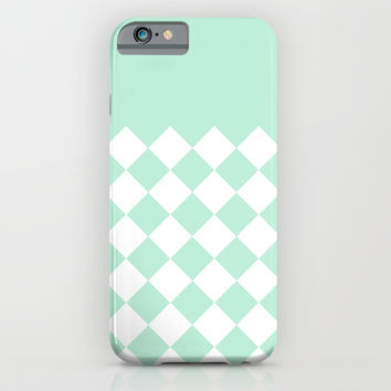 Diamond Mint Green & White iPhone & iPod Case by BeautifulHomes