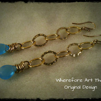 Blue Quartz Chain Dangle Earrings