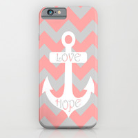 Anchor Chevron Gray Coral Pink iPhone & iPod Case by BeautifulHomes