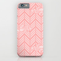 Coral Pink Chevron Floral iPhone & iPod Case by BeautifulHomes