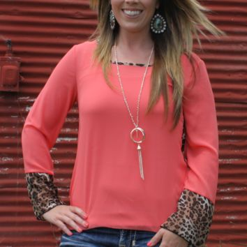 Coral Leopard Sheer Shirt