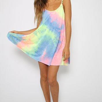 Tie Me Up Dress  Rainbow Print Tie Dye Dress