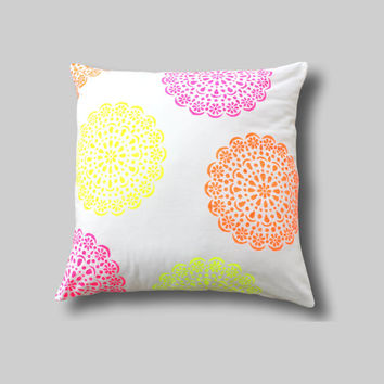 NEON Multi Colour Floor Cushion Cover,  Giant Pillow, Pink Girls Bedroom Decor, Pink Floor Cushion,…