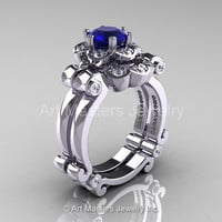 Art Masters Caravaggio 14K White Gold 1.0 Ct Blue Sapphire Diamond Engagement Ring Wedding Band Set R606S-14KWGDBS