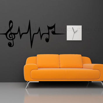 Music note heartbeat pulse wall decal, wall sticker, home decor, wall graphic, decal, vinyl decal,…