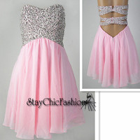 Sparkly Top Pink Short Open Back Chiffon Prom Dress for Junior