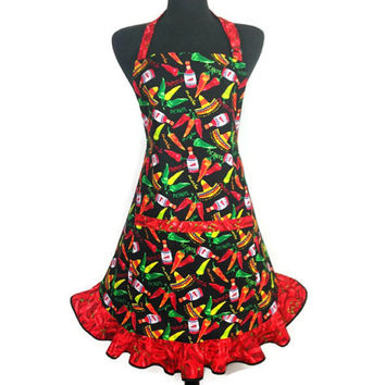 Chili Pepper Apron for Women , Retro Mexican Kitchen Decor , Adjustable with Pocket and Ruffle , Jalapeño and Hot Sauce