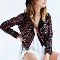 Ecote Embroidered Moto Jacket - Urban Outfitters