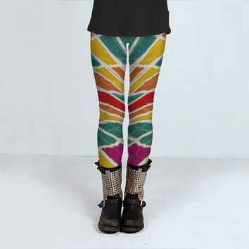 Multicolored Vibrations Art Print Leggings by Daniel Ferreira-Leites (Leggings)