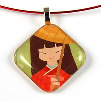 Glass Tile Pendant with Oriental Design on a Burgundy Wire Necklace