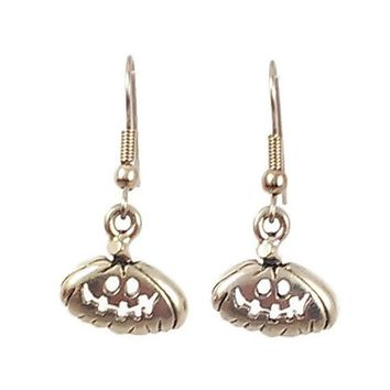 Surgical Steel Dangle Earrings Goofy Halloween Pumpkin Silver Color