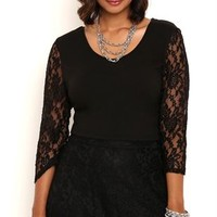 Plus Size Crop Top with Lace Three Quarter Sleeves