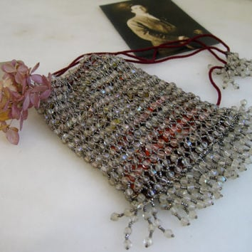 Drawstring Purse ~ Antique Flapper Pouch Purse Devilishly Kicky in Glass and Cut Steel Beads