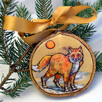 fox ornament, hand painted christmas ornament on wood slice
