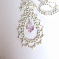 Romantic Offwhite Necklace, Swarovs.. on Luulla