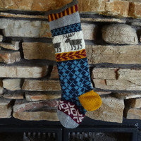Hand Knit Christmas Stocking with Brown Moose, Fuchsia Snowflake, Blue Argyle and Gold Heel  - Can be Personalized