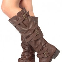 Brown Faux Leather Knee High Strappy Biker Boots @ Cicihot Boots Catalog:women's winter boots,leather thigh high boots,black platform knee high boots,over the knee boots,Go Go boots,cowgirl boots,gladiator boots,womens dress boots,skirt boots.