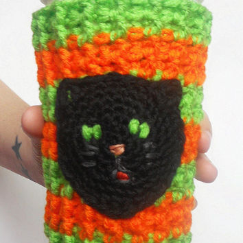 Black Cat Coffee Cozy in Orange and Electric Green Stripes, ready to ship.