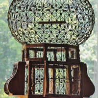 Vintage Bird Cage, Wood and Iron Scrollwork