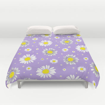 Daisies - Purple Duvet Cover by Ornaart | Society6