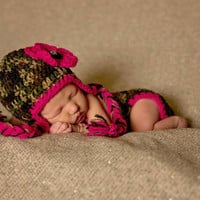 Adorable Baby girls camo Diaper cover , Hat with ear flaps and braids and optional Booties Set-  Baby Shower Gift,