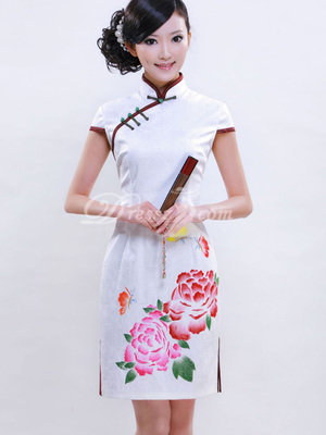 Chinese White Peony Mandarin Collar Two Side Slits Cotton Cheongsam (3506CDZ)