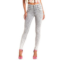 "Refuge ""Hi-Waist Super Skinny"" Acid Wash Jeans - Black Acid Denim"