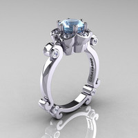 Art Masters Caravaggio 14K White Gold 1.0 Ct Aquamarine Diamond Engagement Ring R606-14KWGDAQ