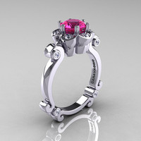 Art Masters Caravaggio 14K White Gold 1.0 Ct Pink Sapphire Diamond Engagement Ring R606-14KWGDPS