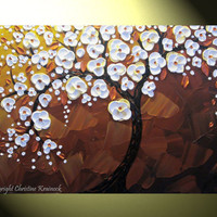 "Original Abstract Cherry Tree Painting, Blossoming White Tree of Life, Modern Floral Palette Knife Painting, Copper Brown, 36x24"" -Christine"