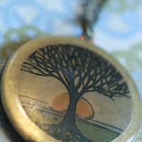 Tree of life Locket necklace, long necklace locket